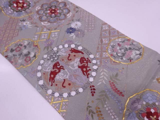 リサイクル 蘇州刺繍華紋に向かい狩猟模様袋帯【送料無料】