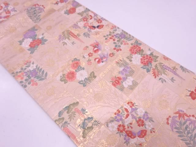 【セール30%オフ】リサイクル 市松に花鳥模様織出し袋帯【送料無料】