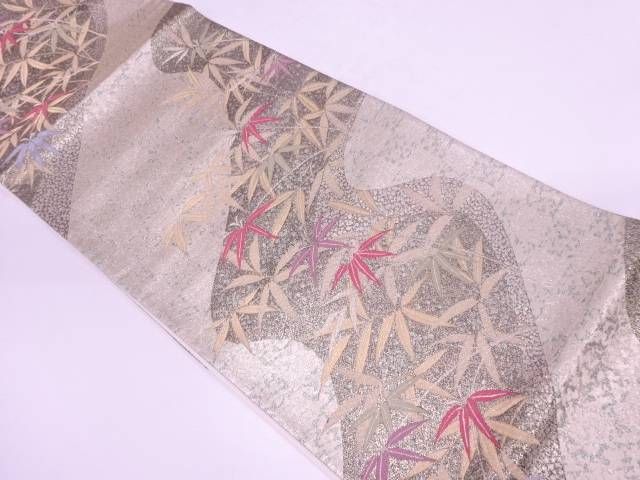 リサイクル 流水に笹模様織出し袋帯【送料無料】