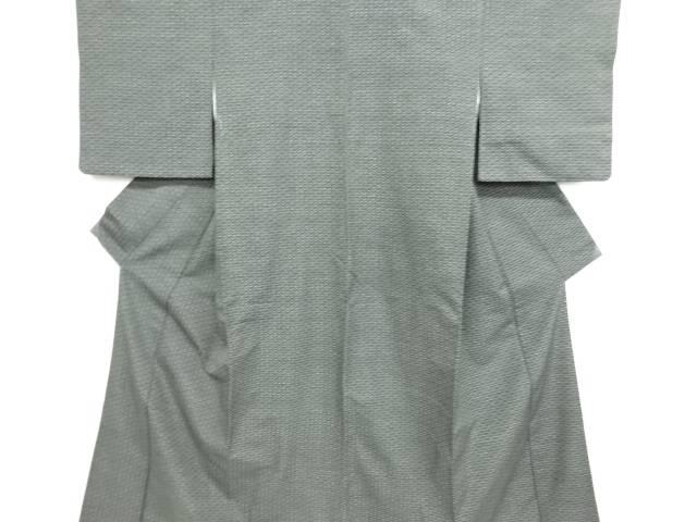 リサイクル 縞に枡模様織り出し手織り節紬着物【送料無料】