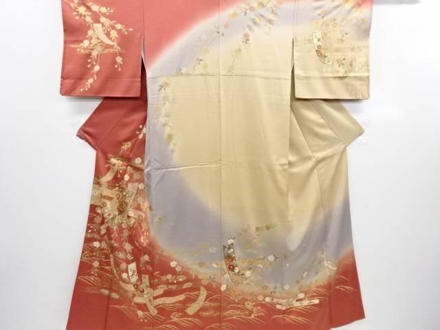 リサイクル 金彩枝垂れ桜に短冊・ヱ霞模様訪問着【送料無料】