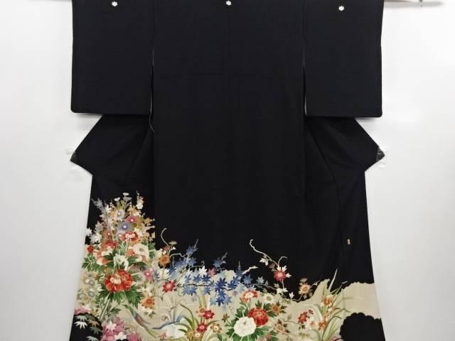 リサイクル 作家物 手描き花鳥模様留袖(比翼付き)【送料無料】