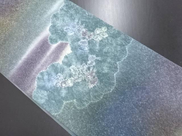 リサイクル 銀通し 絞り 雲取に藤模様袋帯【送料無料】