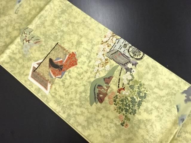 リサイクル となみ織物製 本金 伊勢物語模様織り出し袋帯【送料無料】