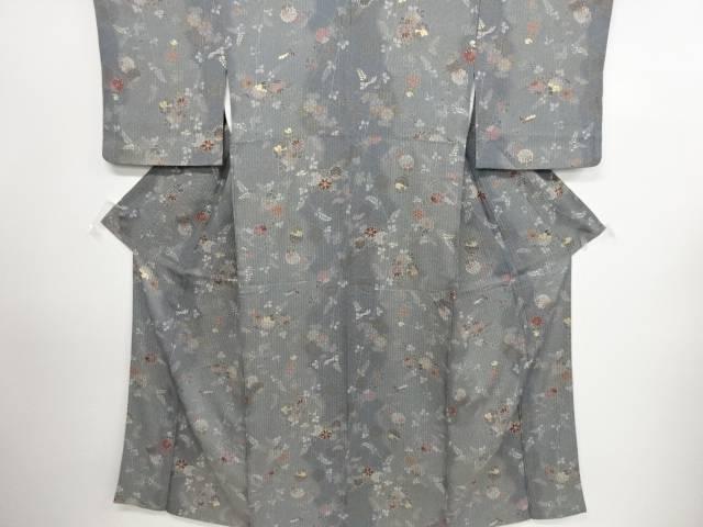 リサイクル 変わり織籠目に菊萩模様暈し小紋着物【送料無料】