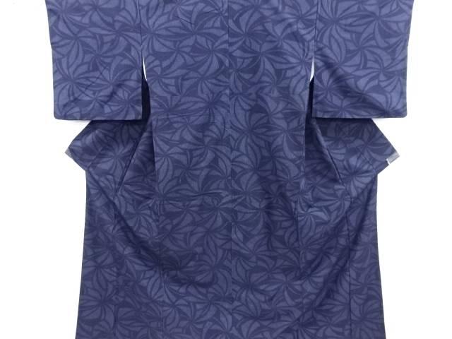 リサイクル 変わりねじり花模様織り出し本真綿結城紬着物【送料無料】