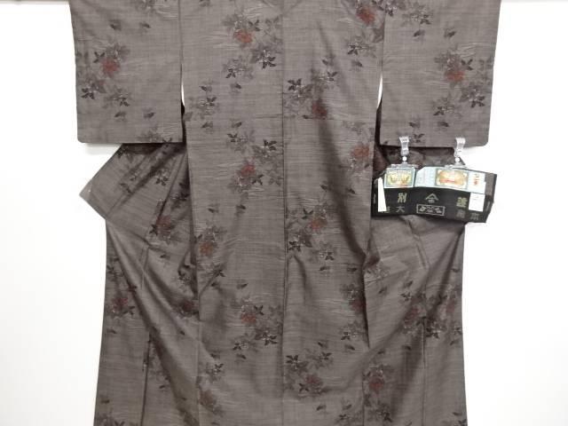 リサイクル 枝花模様織り出し本場泥大島紬着物(7マルキ)【送料無料】