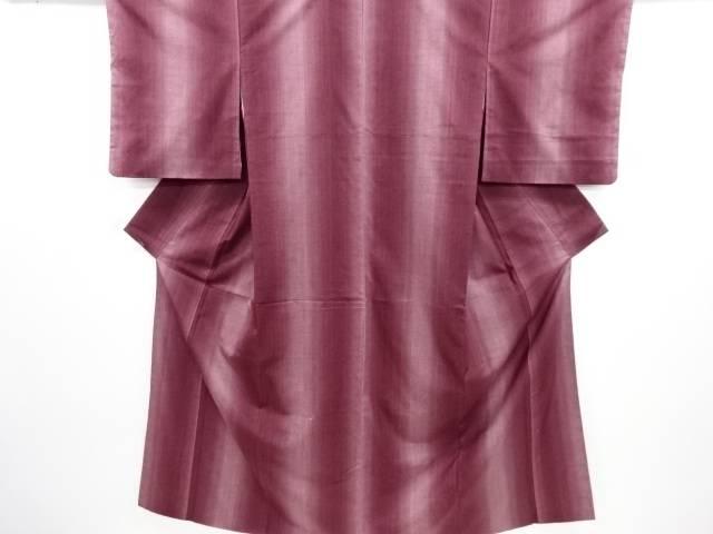 リサイクル 縞織り出し暈し手織り紬着物【送料無料】