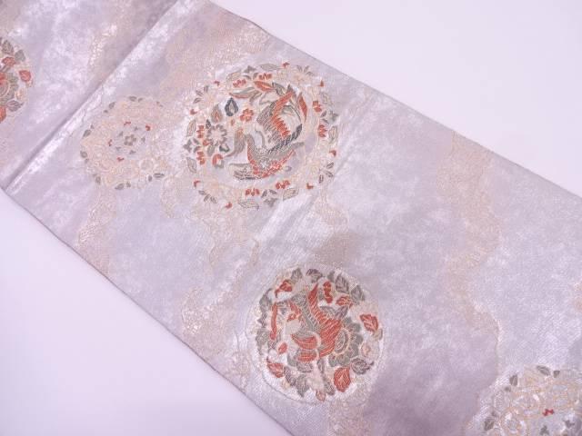 リサイクル 引箔鳳凰に花丸文様織出し袋帯【送料無料】