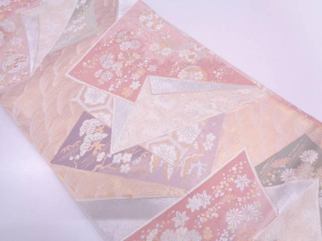 リサイクル 色紙に松竹梅・草花模様織出し袋帯【送料無料】