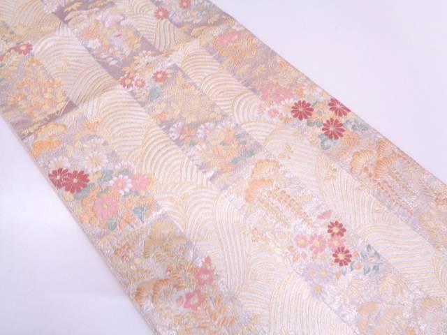 リサイクル 縞に波・草花模様織出し袋帯【送料無料】