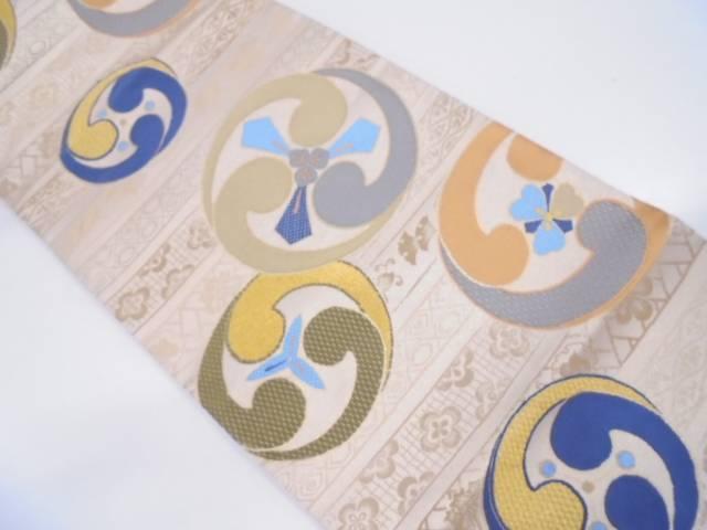 リサイクル 未使用品 巴紋に花模様織出し袋帯【送料無料】