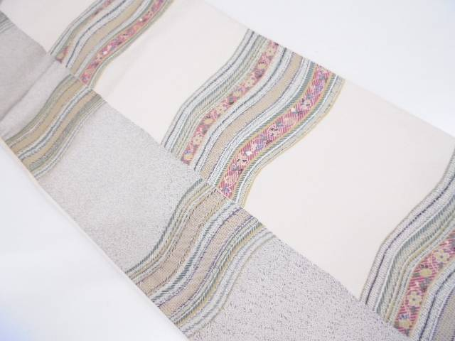リサイクル 縞に変わり横段・草花模様織出し袋帯【送料無料】