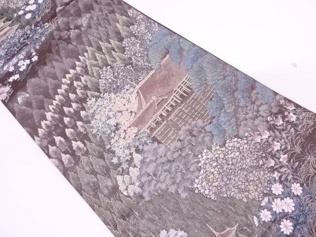 リサイクル プラチナ二重箔九百錦清水寺に風景模様織出し袋帯【送料無料】