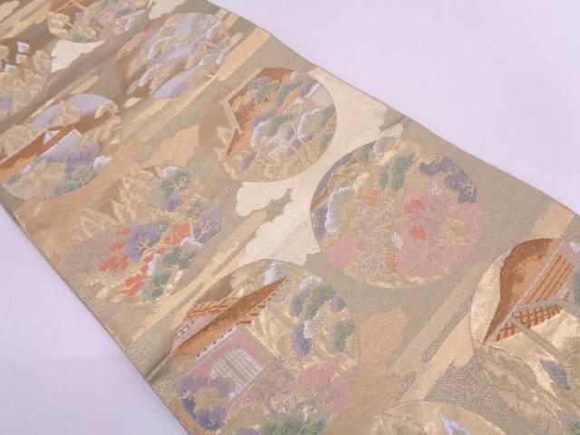 リサイクル 家屋に樹木模様織出し袋帯【送料無料】