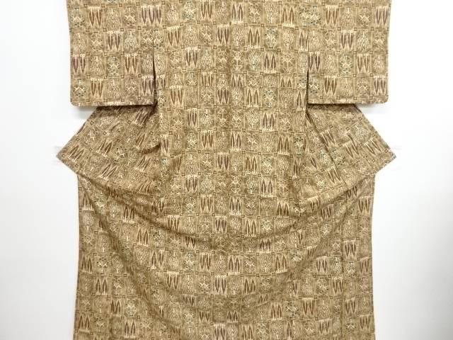 リサイクル 格子に抽象樹木模様手織り紬着物【送料無料】