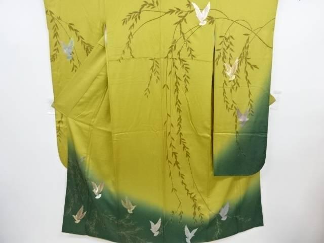 リサイクル 箔置き螺鈿鳥に枝垂れ模様振袖・長襦袢・袋帯セット【送料無料】