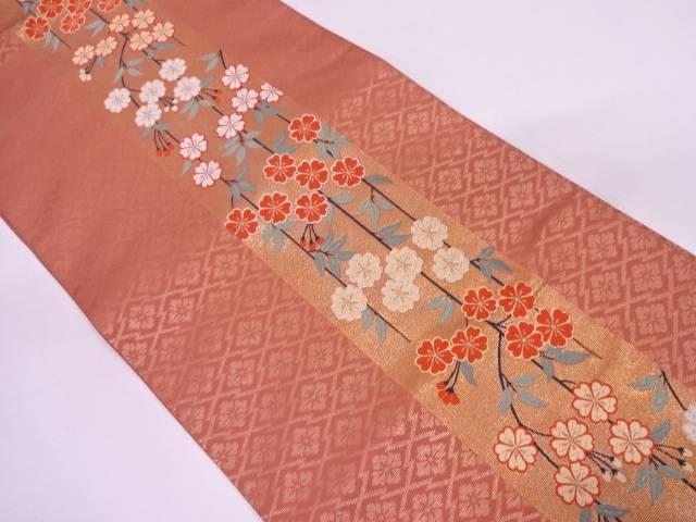 リサイクル 未使用品 じゅらく製 枝垂れ桜に松皮菱模様織出し袋帯【送料無料】