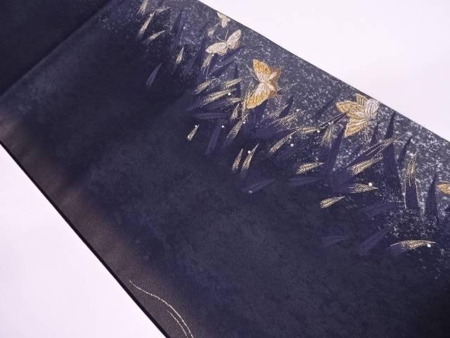 リサイクル 未使用品 蝶に笹模様織出し袋帯【送料無料】