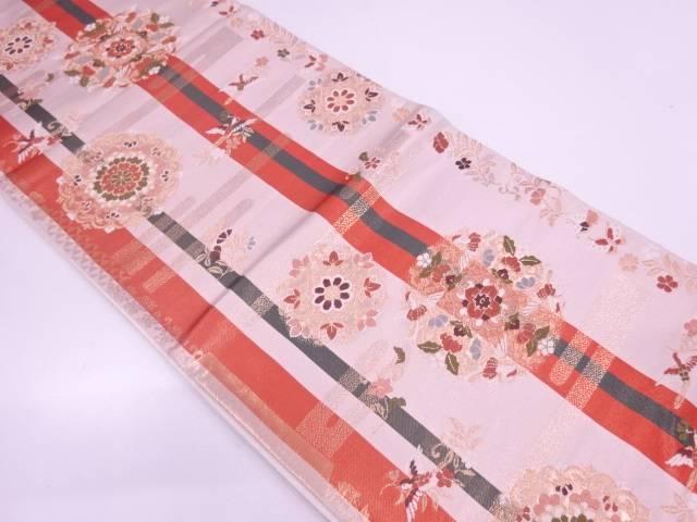 リサイクル 華紋に花喰鳥模様織出し袋帯【送料無料】
