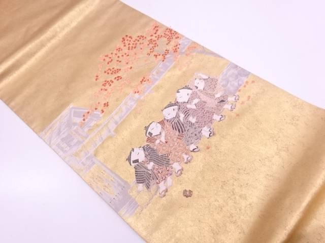 リサイクル 長嶋織物製 由水十久 本金箔 家屋に童子模様織出し袋帯 【送料無料】