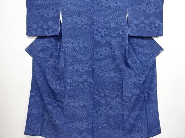 リサイクル 本藍型染切りばめ風菊唐草模様小紋着物【送料無料】