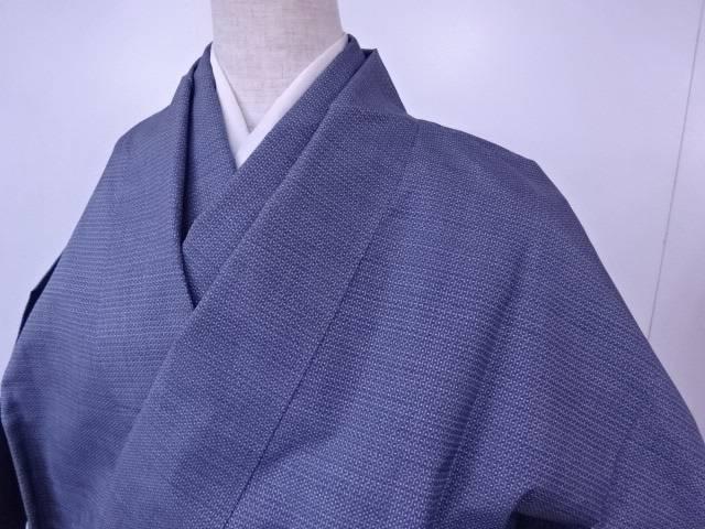 リサイクル 紬 アンサンブル 十字亀甲文様 総柄 着物【送料無料】