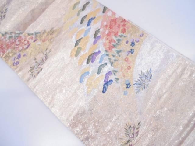 【セール30%オフ】リサイクル 未使用品 吉村織物製 山紫妙境文織出し袋帯【送料無料】