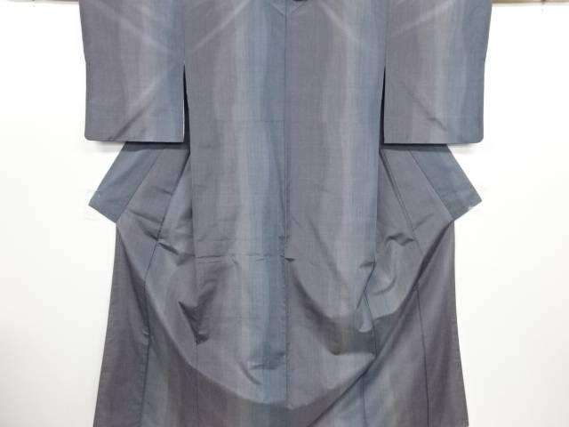 リサイクル 縞織り出し手織り節紬着物【送料無料】