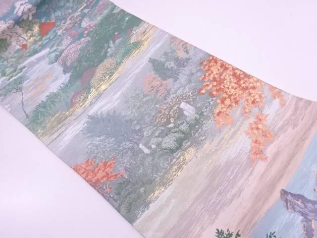 リサイクル 未使用品 河瀬満織物製 会津御薬園模様織出し袋帯(未仕立て)【送料無料】