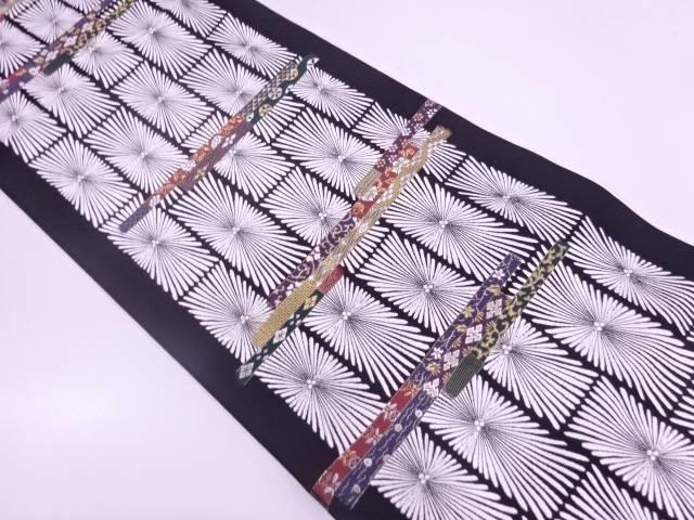 リサイクル 未使用品 横段に松・草花模様織出し袋帯【送料無料】