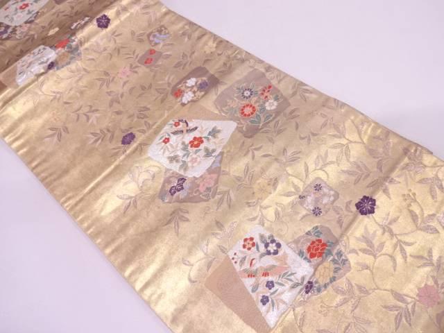 リサイクル 引き箔色紙に花鳥・花唐草模様織出し袋帯【送料無料】