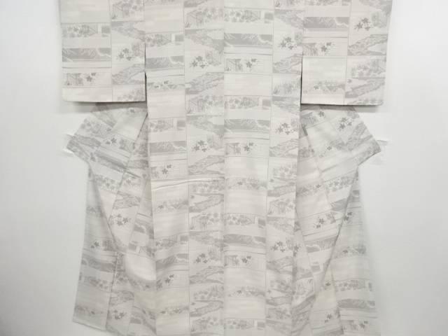 リサイクル 屋敷に草花模様織り出し手織り紬着物【送料無料】