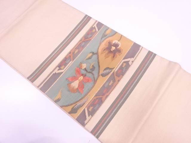 【セール30%オフ】リサイクル すくい織横段に草花模様織出し袋帯 【送料無料】