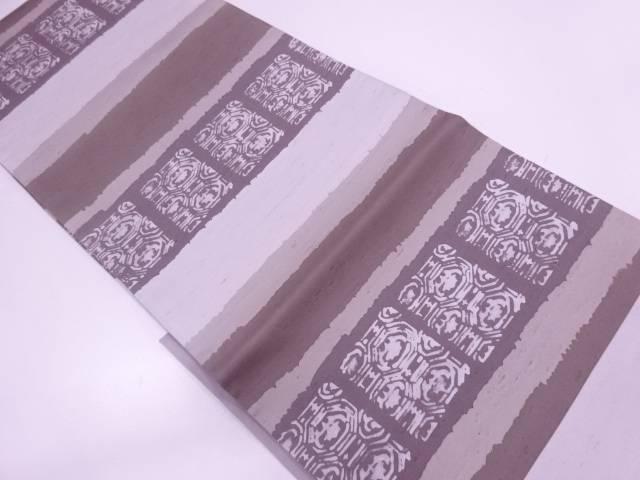 リサイクル 未使用品 手織紬横段に抽象模様袋帯【送料無料】