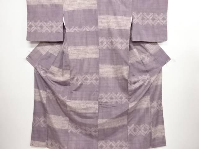 リサイクル 草木染板締め絞り横段模様手織り節紬着物【送料無料】