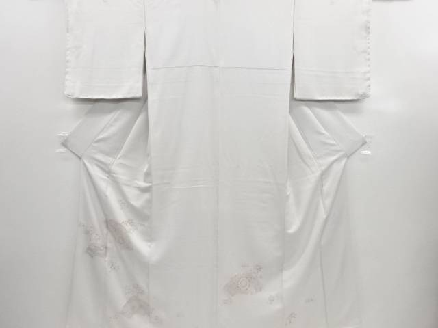 リサイクル 未使用品 蘇州刺繍 地紙に華紋唐草・草花模様三つ紋色留袖(比翼付き)【送料無料】