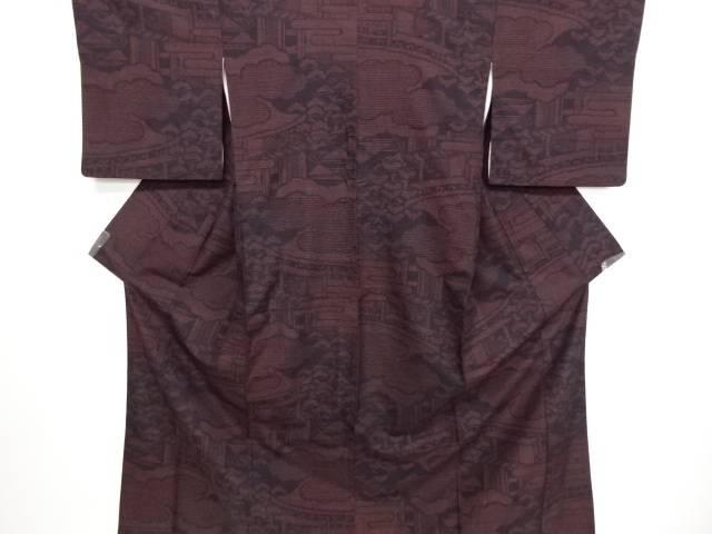 リサイクル 屋敷に松模様織り出し本場結城紬80亀甲着物(石下)【送料無料】