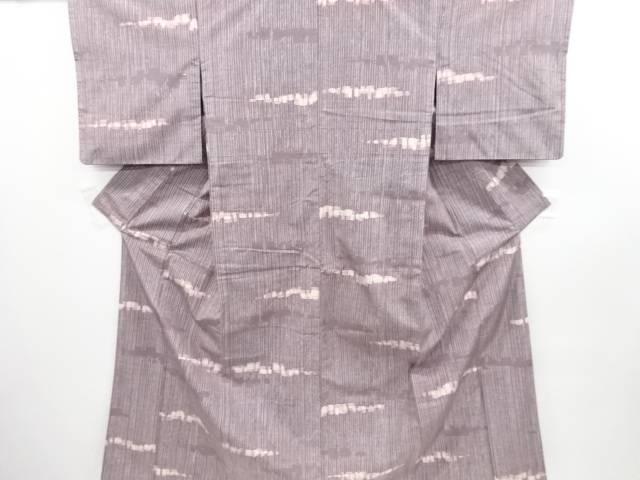 リサイクル 無形文化財本場牛首紬縞に変わり横段模様着物【送料無料】