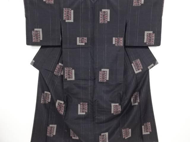 リサイクル 重ね色紙に縞唐花模様織出手織り節紬着物【送料無料】