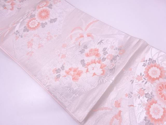 リサイクル 地紙に草花・極楽鳥模様織出し袋帯【送料無料】