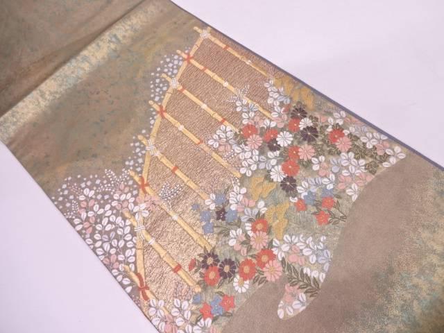 リサイクル 引箔光悦垣に草花模様織出し袋帯【送料無料】