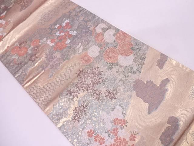 リサイクル 枯山水に草花・古典柄模様織出し袋帯【送料無料】