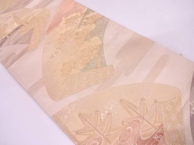 リサイクル 地紙に松模様織出し袋帯【送料無料】