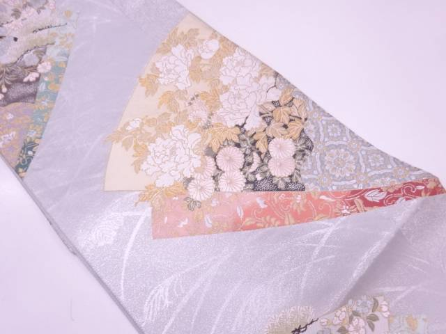 リサイクル 未使用品 扇に草花模様織出し袋帯【送料無料】