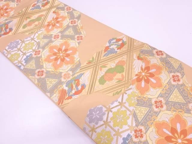 リサイクル 川島織物製 襷に向かい鳥・花模様織出し袋帯 【送料無料】