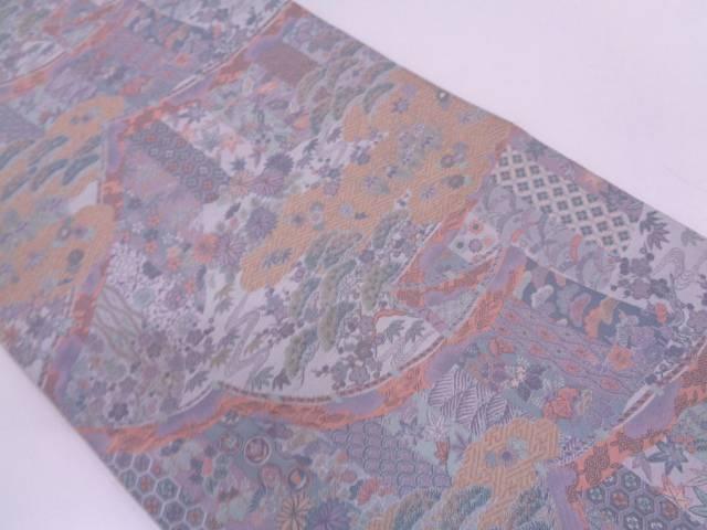 リサイクル 萬葉製 幔幕に草花・古典柄も織出全通袋帯【送料無料】