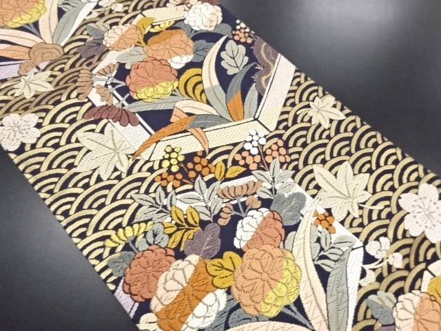 リサイクル 唐織 亀甲に菊・桜・楓模様織り出し袋帯【送料無料】