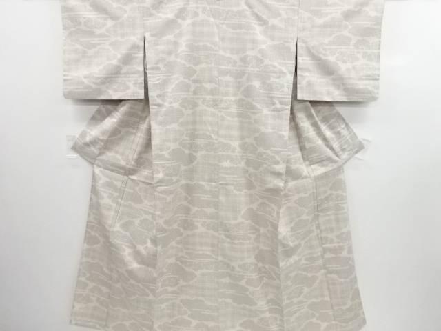 リサイクル 雲模様織り出し手織り真綿紬単衣着物【送料無料】
