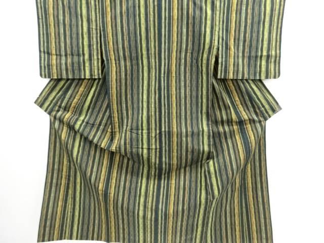 リサイクル 縞織り出し手織り節紬単衣着物【送料無料】